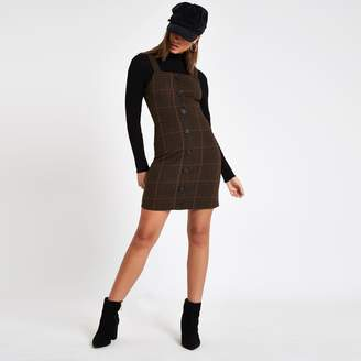 River Island Womens Brown check button front pinafore mini dress