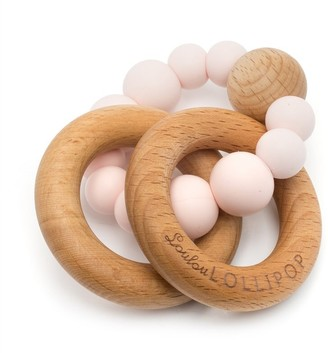 Loulou Lollipop Wood and Silicone Rattle Pink
