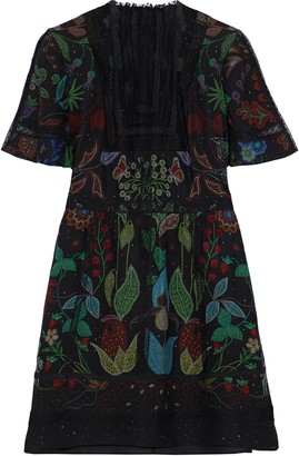 Valentino Tulle-paneled Lace-trimmed Silk Mini Dress