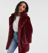 Brave Soul Petite clare faux fur coat