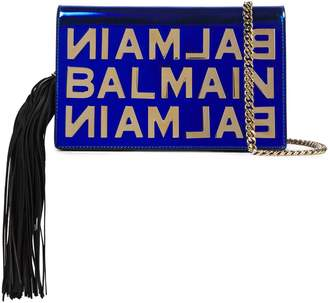 Balmain Tasseled Mirrored-leather Shoulder Bag