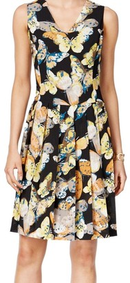 Nine West Women's Sleeveless V-Neck Drop-Waist Dress with Pleated Skirt