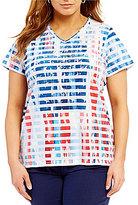 Allison Daley Plus V-Neck Stripe Flag Print Embellished Knit Top