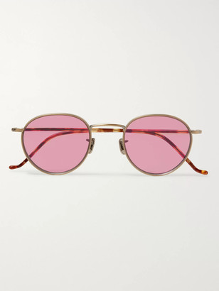 Eyevan 7285 Round-Frame Gold-Tone Titanium And Tortoiseshell Acetate Sunglasses
