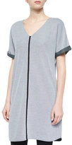 Joan Vass Short-Sleeve Long Pique Tunic, Petite
