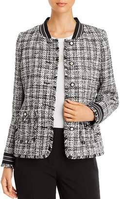 Karl Lagerfeld Paris Stripe-Trimmed Tweed Jacket