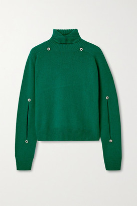 Christopher Kane Crystal-embellished Cutout Wool And Cashmere-blend Turtleneck Sweater - Green