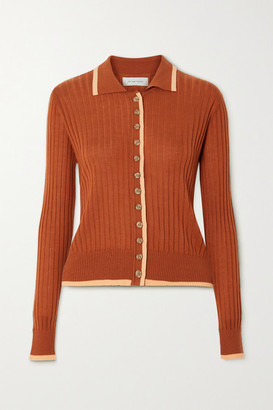 Lee Mathews Ribbed Tencel Cardigan - Tan