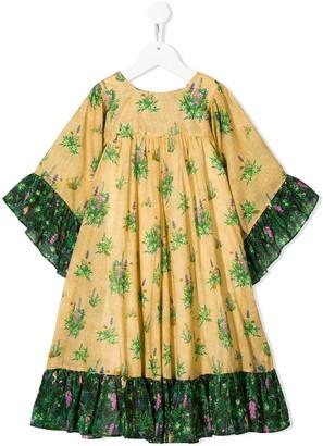 Gucci Kids Ruffle Trim Floral Print Dress