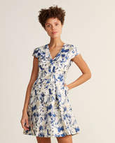 Vince Camuto Cap Sleeve Jacquard Fit & Flare Floral Dress
