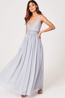 Little Mistress Serena Grey Sequin And Frill Maxi Dress