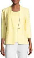 Misook Textured One-Button Jacket, Yellow, Plus Size