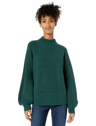 Goodthreads Amazon Brand Women's Boucle Half-Cardigan Stitch Balloon-Sleeve Sweater