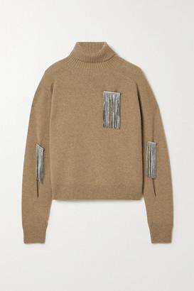 Christopher Kane Crystal-embellished Cutout Wool And Cashmere-blend Turtleneck Sweater - Camel