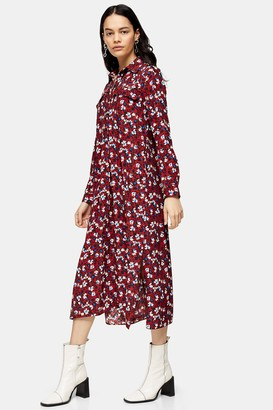 Topshop Womens Tall Burgundy Floral Trapeze Midi Shirt Dress - Burgundy
