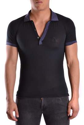 Galliano Men's Blue Cotton Polo Shirt
