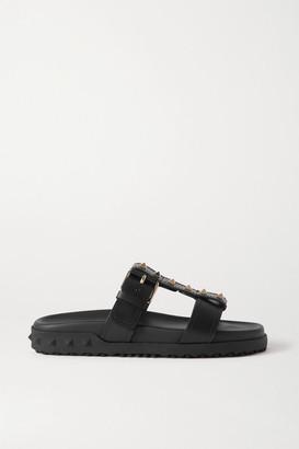Valentino Garavani Rockstud Leather Slides - Black