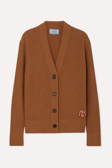Prada Appliquéd Ribbed Wool And Cashmere-blend Cardigan - Brown