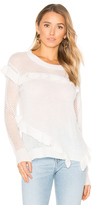 White + Warren Ruffle Crew Neck Sweater
