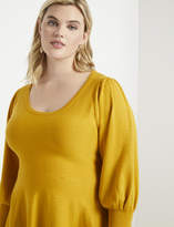 ELOQUII Puff Sleeve Peplum Sweater