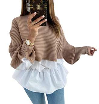 KIRUNDO 2019 Women's Peplum Tops Long Batwing Sleeves Sweaters Crew Neck Patchwork High Waist Solid Tunic Shirts Blouses (