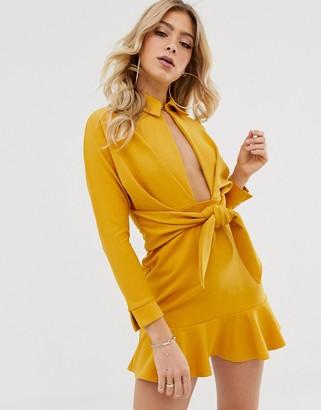 Asos Design DESIGN drop waist mini shirt dress-Yellow