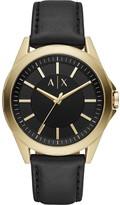 Armani Exchange Armani Exchange Drexler Black and Rose Gold Detail Dial Black Leather Strap Mens Watch