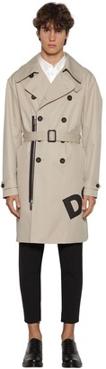 DSQUARED2 Printed Cotton Twill Trench Coat
