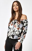 La Hearts Button Front Off-The-Shoulder Top