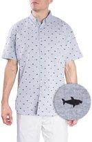 Visive Hawaiian Shirts For Mens   Shark Short Sleeve Button Down Modern Fit Woven Shirt (Grey Shark,)