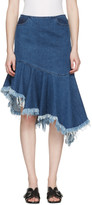 Marques Almeida Blue Denim Draped Skirt