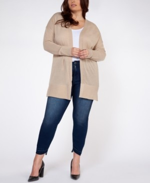 Black Tape Plus Size Open-Front Cardigan