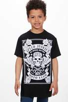 boohoo Boys Long Line Skull Tee black