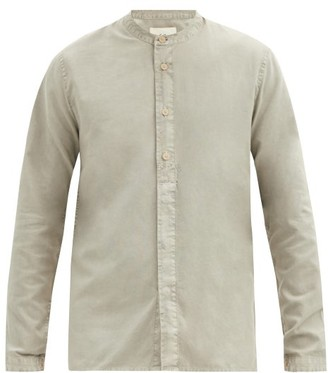Folk Grandad-collar Box-pleated Cotton Shirt - Grey