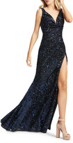 Mac Duggal 6-Week Shipping Lead Time Sequin V-Neck Sleeveless Thigh-Slit Gown