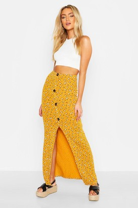 boohoo Floral Ditsy Button Through Skirt