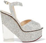 Charlotte Olympia Leandra Glittered Leather And Perspex Wedge Sandals - Silver