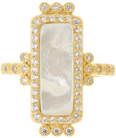 Freida Rothman 14K Gold Plated Sterling Silver CZ Mother of Pearl Bar Ring - Size 9