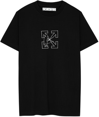 Off-White Logo Workers black embroidered cotton T-shirt