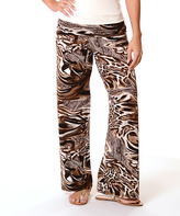 Brown & Cream Animal Abstract Fold-Over Palazzo Pants