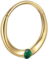 Pamela Love 11mm Floating Emerald Single Huggie Hoop Earring - Yellow Gold