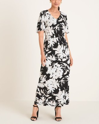 Chico's Floral Flutter-Sleeve Maxi Dress