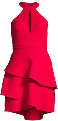 BCBGMAXAZRIA Ruffle Keyhole Mini Dress