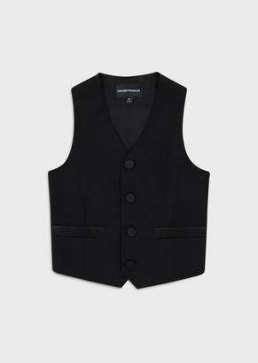 Emporio Armani Single-Breasted Waistcoat In Virgin Wool