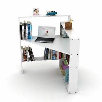 Latitude Run Gracilynn Corner Desk with Bookcase Color (Top/Frame): White