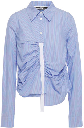 McQ Asymmetric Ruched Striped Cotton-poplin Shirt