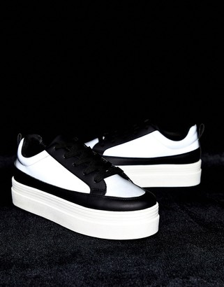Park Lane flatform lace up trainers in reflective mix-Black