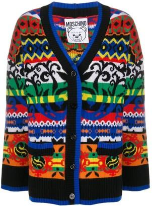 Moschino macro argyle V-neck cardigan