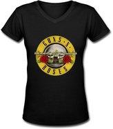 FXQ Fashion Guns N' Roses Logo Lady's V-neck T Shirts S