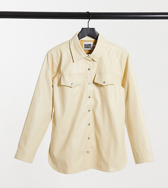Reclaimed Vintage Inspired leather look shirt in buttermilk